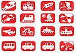 Red and white transportation icon set (twenty)
