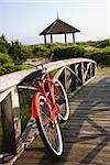 Image of red bike leaned up against railing of boardwalk.