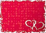 Valentines grunge frame with hearts, vector illustration