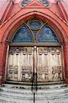 Door to the church in Cambridge