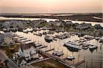 Aerial view of boats at marina on Bald Head Island, North Carolina.