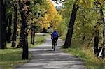 Biker on bikers trail, Bow river, Calgary