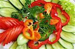 vegetarian salad - raw tomato, cucumbers and sweet pepper