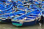 Fleet of Blue Fishing Boats in Harbor, Essaouira, Morocco