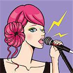 Illustration of singing woman.