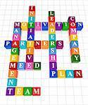 3d colour boxes crossword - management, motivation, leadership, team, plan, company, partners, initiative, meed
