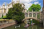 People Punting on River Cam, Bridge of Sighs, Cambridge University, Cambridge, England