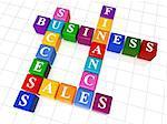 3d colour boxes crossword - business; success; finance, sales