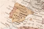 Detail shot of Spain on an English globe