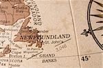 Macro shot of an english globe detailing Newfoundland.