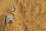Buried skeleton bones halloween background