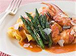 Lobster Tagaliatelli with Asparagus Parmesan and Sliced Truffle