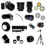 Photographic equipment set. 16 elements isolated on white.