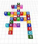 3d colour boxes crossword - partner, team, business, success, career, lead, strategy