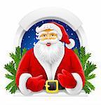 Christmas Santa Claus in window vector illustration
