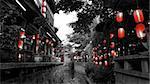 Red lights in the canals of  Li Jiang, Yunnan, China.
