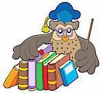 Owl teacher holding books - vector illustration.