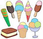 Ice cream collection - vector illustration.