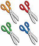 Various colors scissors - vector illustration.