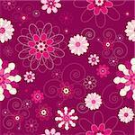 Retro/vintage/modern floral seamless background