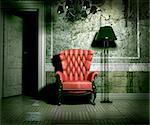 luxury armchair in grunge interior (3D rendering)
