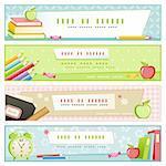 ensemble de quatre bannières différentes de couleurs pastels sur école sujets connexes