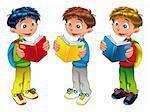 Three boys are reading, cartoon and vector characters