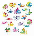 Family of fish, cartoon vector characters