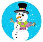 Cartoon snowman on white background - vector illustration.