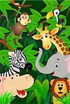 Vector illustration ofcute animal in jungle