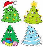 Various cartoon Christmas trees - vector illustration.