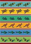 Modèle vecteur y compris mobile australien ethnique avec animaux typique multicolore