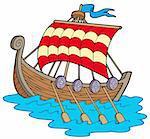 Viking boat on white background - vector illustration.