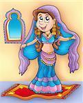 Belly dancer on carpet - color illustration.