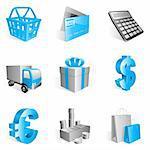 Set of 9 blue shopping icons.