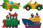 Set of vehicles: plane, car, train and ship. Over white. EPS 8, JPEG, AI