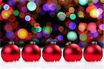 Red Christmas Bulbs and Pretty Lights