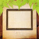 Grunge background - vintage photoframe on stucco wall