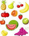 illustration de vecteur d'un ensemble de fruits