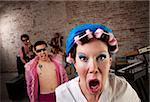 Angry neighbor crashing a 1970s Disco Music Party