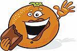 Illustration of cartoon orange eating chocolate
