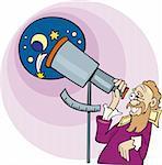 Illustration of Galileo the astronomer