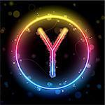 Vector - Alphabet Rainbow Lights in Circle Button