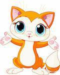 Illustration of cute kitten raising his hands