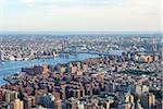 New York City Manhattan east Hudson River aerial view with Williamsburg Bridge and Brooklyn