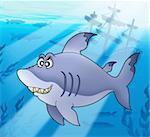 Big blue shark with shipwreck - color illustration.