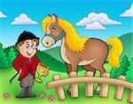 Cartoon jockey with horse - color illustration.