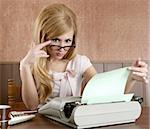 businesswoman retro secretary office vintage glasses typewriter accountant