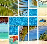 Tropical collage. Exotic travel. Caribbean sea Dominican Republic Island Saona