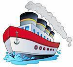 Big cartoon steamship - vector illustration.